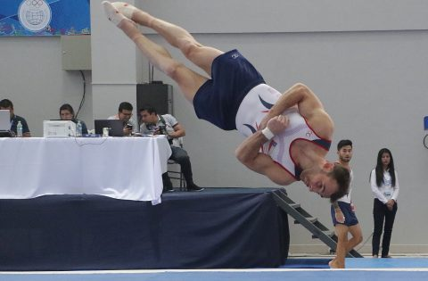 GYMNASTS BATTLE AT FIRST PAN AMERICAN GAMES QUALIFIER